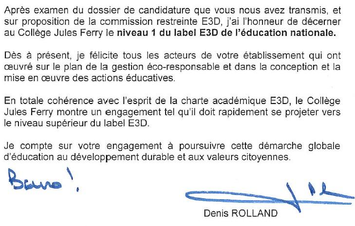 Lettre De Monsieur De Recteur De L Academie De Dijon Labelisation